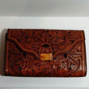 Vintage Tooled Leather Clutch Purse Leaf Design